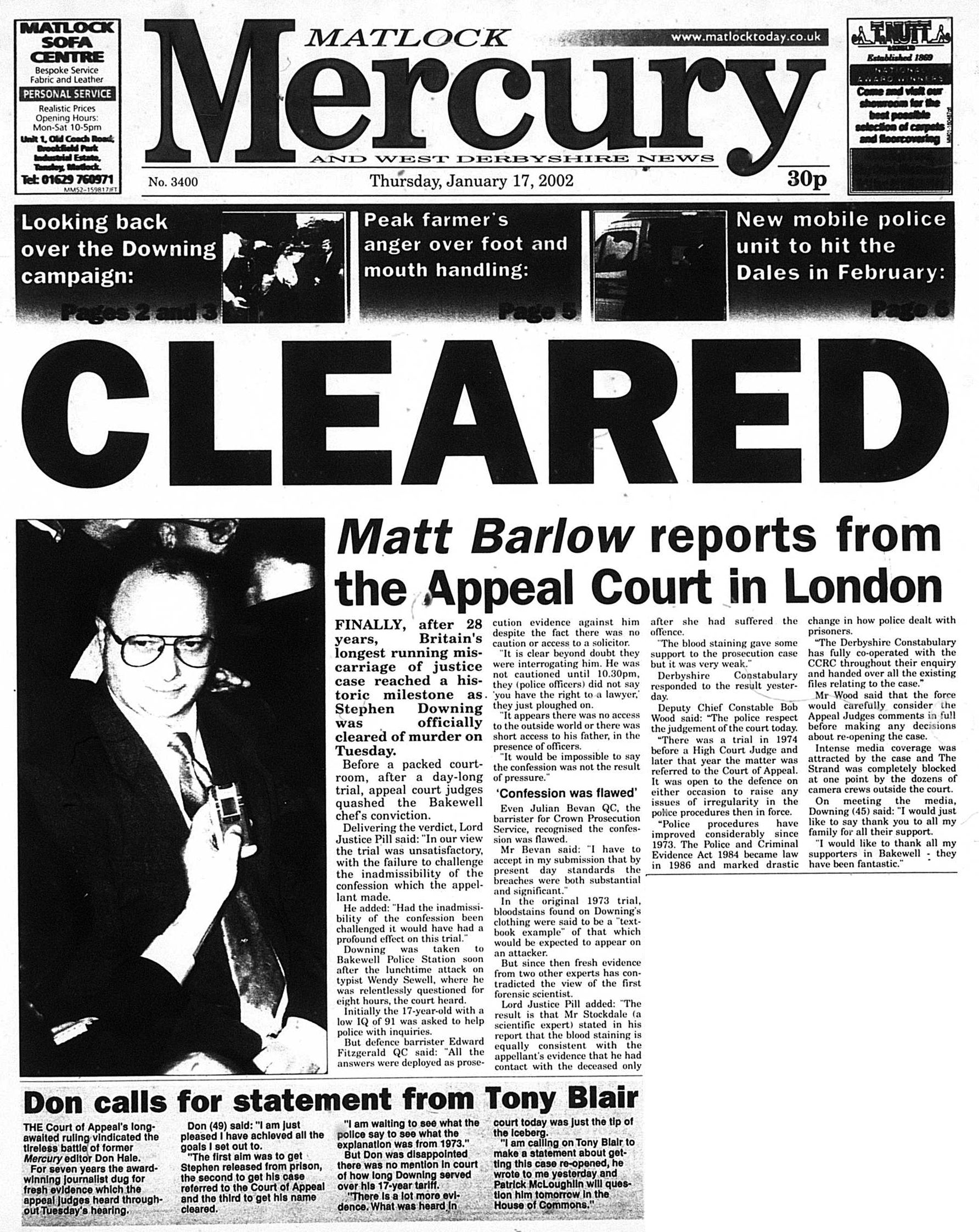 Front page of Matlock Mercury: January 17th 2002